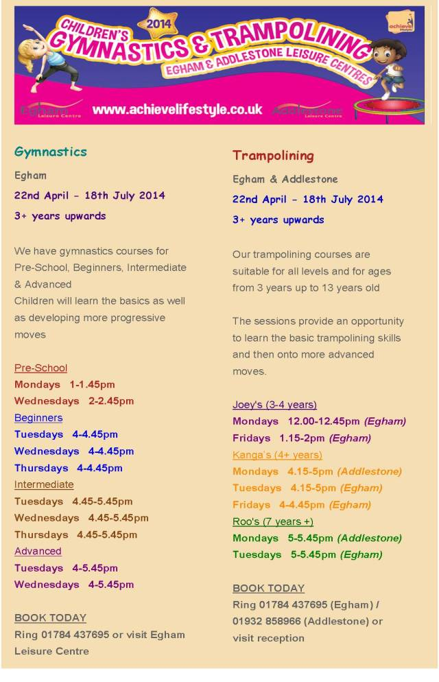 Gymnastics & Trampolining April-July 14