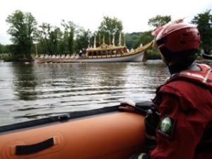 The Queen's row barge Gloriana from the Surrey Search and Rescue launch